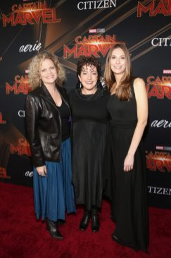 """HOLLYWOOD, CA - MARCH 04: (L-R) Writers Meg LeFauve, Nicole Perlman, and Geneva Robertson-Dworet attend the Los Angeles World Premiere of Marvel Studios' """"Captain Marvel"""" at Dolby Theatre on March 4, 2019 in Hollywood, California. (Photo by Jesse Grant/Getty Images for Disney) *** Local Caption *** Nicole Perlman; Geneva Robertson-Dworet"""