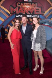 """HOLLYWOOD, CA - MARCH 04: (L-R) Joy Creel, illustrater Rob Liefeld, and Olivia Liefeld attend the Los Angeles World Premiere of Marvel Studios' """"Captain Marvel"""" at Dolby Theatre on March 4, 2019 in Hollywood, California. (Photo by Alberto E. Rodriguez/Getty Images for Disney) *** Local Caption *** Rob Liefeld; Joy Creel; Olivia Liefeld"""