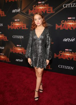 """HOLLYWOOD, CA - MARCH 04: Actor Sadie Stanley attends the Los Angeles World Premiere of Marvel Studios' """"Captain Marvel"""" at Dolby Theatre on March 4, 2019 in Hollywood, California. (Photo by Jesse Grant/Getty Images for Disney) *** Local Caption *** Sadie Stanley"""