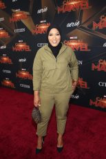 """HOLLYWOOD, CA - MARCH 04: Ibtihaj Muhammad attends the Los Angeles World Premiere of Marvel Studios' """"Captain Marvel"""" at Dolby Theatre on March 4, 2019 in Hollywood, California. (Photo by Jesse Grant/Getty Images for Disney) *** Local Caption *** Ibtihaj Muhammad"""