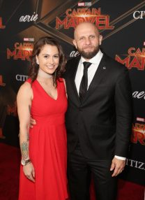 """HOLLYWOOD, CA - MARCH 04: Joshua Gallegos (R) and guest attend the Los Angeles World Premiere of Marvel Studios' """"Captain Marvel"""" at Dolby Theatre on March 4, 2019 in Hollywood, California. (Photo by Jesse Grant/Getty Images for Disney) *** Local Caption *** Joshua Gallegos"""