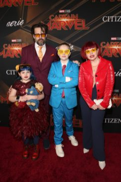 """HOLLYWOOD, CA - MARCH 04: Comic book writer Kelly Sue DeConnick (R) and family attend the Los Angeles World Premiere of Marvel Studios' """"Captain Marvel"""" at Dolby Theatre on March 4, 2019 in Hollywood, California. (Photo by Jesse Grant/Getty Images for Disney) *** Local Caption *** Kelly Sue DeConnick"""