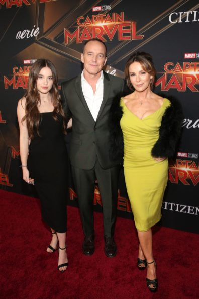 """HOLLYWOOD, CA - MARCH 04: (L-R) Actors Stella Gregg, Clark Gregg and Jennifer Grey attend the Los Angeles World Premiere of Marvel Studios' """"Captain Marvel"""" at Dolby Theatre on March 4, 2019 in Hollywood, California. (Photo by Jesse Grant/Getty Images for Disney) *** Local Caption *** Jennifer Grey; Clark Gregg; Stella Gregg"""