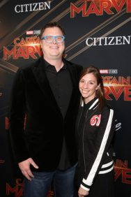 "HOLLYWOOD, CA - MARCH 04: Erik Oleson (L) and guest attend the Los Angeles World Premiere of Marvel Studios' ""Captain Marvel"" at Dolby Theatre on March 4, 2019 in Hollywood, California. (Photo by Jesse Grant/Getty Images for Disney) *** Local Caption *** Erik Oleson"