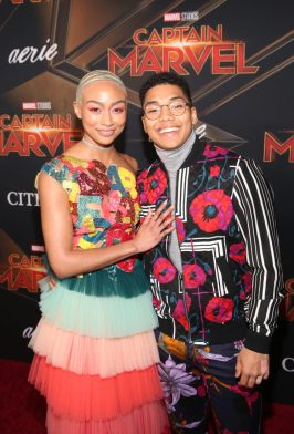 """HOLLYWOOD, CA - MARCH 04: (L-R) Actors Tati Gabrielle and Chance Perdomo attend the Los Angeles World Premiere of Marvel Studios' """"Captain Marvel"""" at Dolby Theatre on March 4, 2019 in Hollywood, California. (Photo by Jesse Grant/Getty Images for Disney) *** Local Caption *** Chance Perdomo; Tati Gabrielle"""