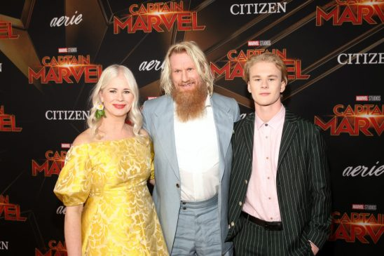 """HOLLYWOOD, CA - MARCH 04: (L-R) Thea Glimsdal Temte, actor Rune Temte, and Martinius Glimsdal Temte attend the Los Angeles World Premiere of Marvel Studios' """"Captain Marvel"""" at Dolby Theatre on March 4, 2019 in Hollywood, California. (Photo by Jesse Grant/Getty Images for Disney) *** Local Caption *** Martinius Glimsdal Temte; Rune Temte; Thea Glimsdal Temte"""