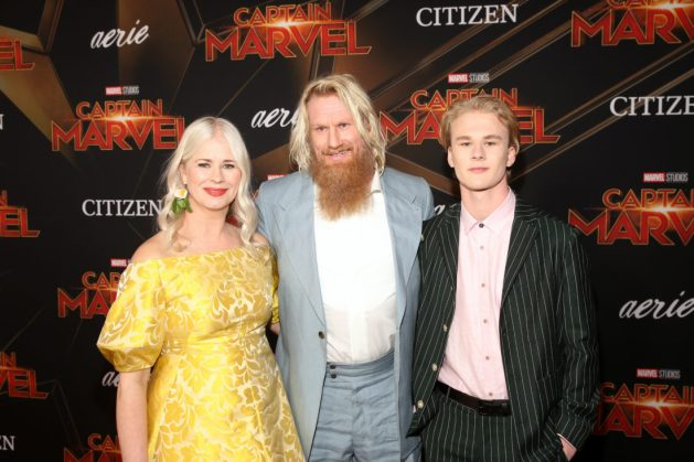 "HOLLYWOOD, CA - MARCH 04: (L-R) Thea Glimsdal Temte, actor Rune Temte, and Martinius Glimsdal Temte attend the Los Angeles World Premiere of Marvel Studios' ""Captain Marvel"" at Dolby Theatre on March 4, 2019 in Hollywood, California. (Photo by Jesse Grant/Getty Images for Disney) *** Local Caption *** Martinius Glimsdal Temte; Rune Temte; Thea Glimsdal Temte"