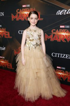 "HOLLYWOOD, CA - MARCH 04: Actor Mckenna Grace attends the Los Angeles World Premiere of Marvel Studios' ""Captain Marvel"" at Dolby Theatre on March 4, 2019 in Hollywood, California. (Photo by Jesse Grant/Getty Images for Disney) *** Local Caption *** Mckenna Grace"