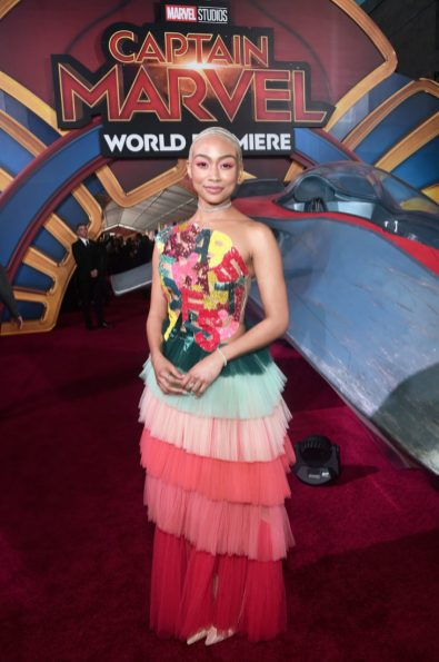 """HOLLYWOOD, CA - MARCH 04: Actor Tati Gabrielle attends the Los Angeles World Premiere of Marvel Studios' """"Captain Marvel"""" at Dolby Theatre on March 4, 2019 in Hollywood, California. (Photo by Alberto E. Rodriguez/Getty Images for Disney) *** Local Caption *** Tati Gabrielle"""