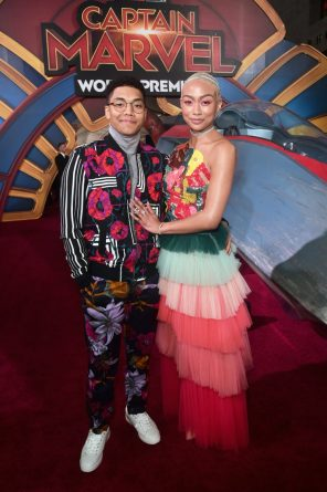 "HOLLYWOOD, CA - MARCH 04: (L-R) Actors Chance Perdomo and Tati Gabrielle attend the Los Angeles World Premiere of Marvel Studios' ""Captain Marvel"" at Dolby Theatre on March 4, 2019 in Hollywood, California. (Photo by Alberto E. Rodriguez/Getty Images for Disney) *** Local Caption *** Tati Gabrielle; Chance Perdomo"