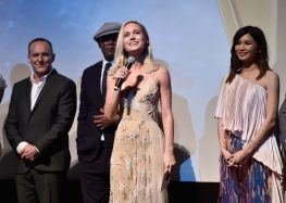 """HOLLYWOOD, CA - MARCH 04: Actor Brie Larson (C) speaks onstage during the Los Angeles World Premiere of Marvel Studios' """"Captain Marvel"""" at Dolby Theatre on March 4, 2019 in Hollywood, California. (Photo by Alberto E. Rodriguez/Getty Images for Disney) *** Local Caption *** Brie Larson; Gemma Chan; Samuel L. Jackson; Clark Gregg"""