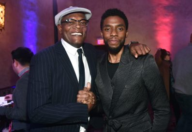 "HOLLYWOOD, CA - MARCH 04: (L-R) Actors Samuel L. Jackson and Chadwick Boseman attend the Los Angeles World Premiere of Marvel Studios' ""Captain Marvel"" at Dolby Theatre on March 4, 2019 in Hollywood, California. (Photo by Alberto E. Rodriguez/Getty Images for Disney) *** Local Caption *** Chadwick Boseman; Samuel L. Jackson"