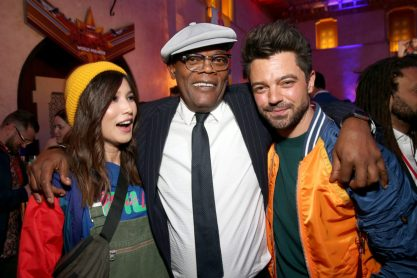 "HOLLYWOOD, CA - MARCH 04: (L-R) Gemma Chan, Samuel L. Jackson, and Dominic Cooper attend the Los Angeles World Premiere of Marvel Studios' ""Captain Marvel"" at Dolby Theatre on March 4, 2019 in Hollywood, California. (Photo by Jesse Grant/Getty Images for Disney) *** Local Caption *** Dominic Cooper; Samuel L. Jackson; Gemma Chan"