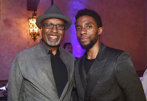 "HOLLYWOOD, CA - MARCH 04: (L-R) Actors James Pickens Jr. and Chadwick Boseman attend the Los Angeles World Premiere of Marvel Studios' ""Captain Marvel"" at Dolby Theatre on March 4, 2019 in Hollywood, California. (Photo by Alberto E. Rodriguez/Getty Images for Disney) *** Local Caption *** Chadwick Boseman; James Pickens Jr."