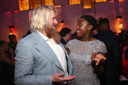 """HOLLYWOOD, CA - MARCH 04: (L-R) Actors Rune Temte and Lashana Lynch attend the Los Angeles World Premiere of Marvel Studios' """"Captain Marvel"""" at Dolby Theatre on March 4, 2019 in Hollywood, California. (Photo by Jesse Grant/Getty Images for Disney) *** Local Caption *** Lashana Lynch; Rune Temte"""