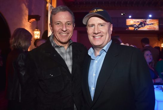 """HOLLYWOOD, CA - MARCH 04: (L-R) The Walt Disney Company Chairman and CEO Bob Iger and President of Marvel Studios and producer Kevin Feige attend the Los Angeles World Premiere of Marvel Studios' """"Captain Marvel"""" at Dolby Theatre on March 4, 2019 in Hollywood, California. (Photo by Alberto E. Rodriguez/Getty Images for Disney) *** Local Caption *** Kevin Feige; Bob Iger"""