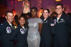 """HOLLYWOOD, CA - MARCH 04: Actor Lashana Lynch (C) poses with Air Force Thunderbirds during the Los Angeles World Premiere of Marvel Studios' """"Captain Marvel"""" at Dolby Theatre on March 4, 2019 in Hollywood, California. (Photo by Alberto E. Rodriguez/Getty Images for Disney) *** Local Caption *** Lashana Lynch"""