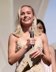 "HOLLYWOOD, CA - MARCH 04: Actor Brie Larson speaks onstage during the Los Angeles World Premiere of Marvel Studios' ""Captain Marvel"" at Dolby Theatre on March 4, 2019 in Hollywood, California. (Photo by Jesse Grant/Getty Images for Disney) *** Local Caption *** Brie Larson"