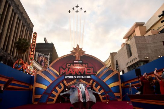 """HOLLYWOOD, CA - MARCH 04: Jets are seen during the Los Angeles World Premiere of Marvel Studios' """"Captain Marvel"""" at Dolby Theatre on March 4, 2019 in Hollywood, California. (Photo by Alberto E. Rodriguez/Getty Images for Disney)"""