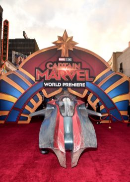 """HOLLYWOOD, CA - MARCH 04: A view of the atmosphere during the Los Angeles World Premiere of Marvel Studios' """"Captain Marvel"""" at Dolby Theatre on March 4, 2019 in Hollywood, California. (Photo by Alberto E. Rodriguez/Getty Images for Disney)"""
