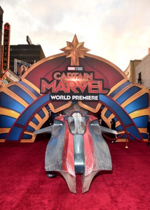 "HOLLYWOOD, CA - MARCH 04: A view of the atmosphere during the Los Angeles World Premiere of Marvel Studios' ""Captain Marvel"" at Dolby Theatre on March 4, 2019 in Hollywood, California. (Photo by Alberto E. Rodriguez/Getty Images for Disney)"