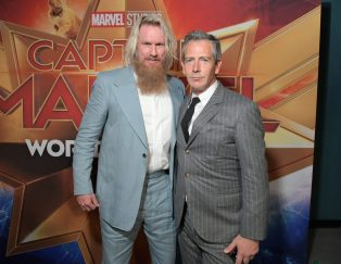"""HOLLYWOOD, CA - MARCH 04: Actors Rune Temte (L) and Ben Mendelsohn attend the Los Angeles World Premiere of Marvel Studios' """"Captain Marvel"""" at Dolby Theatre on March 4, 2019 in Hollywood, California. (Photo by Charley Gallay/Getty Images for Disney) *** Local Caption *** Rune Temte; Ben Mendelsohn"""