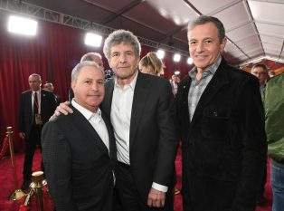 """HOLLYWOOD, CA - MARCH 04: (L-R) Walt Disney Studios President, Alan Bergman, Chairman, The Walt Disney Studios, Alan Horn and The Walt Disney Company Chairman and CEO Bob Iger attend the Los Angeles World Premiere of Marvel Studios' """"Captain Marvel"""" at Dolby Theatre on March 4, 2019 in Hollywood, California. (Photo by Charley Gallay/Getty Images for Disney) *** Local Caption *** Alan Bergman; Alan Horn; Bob Iger"""