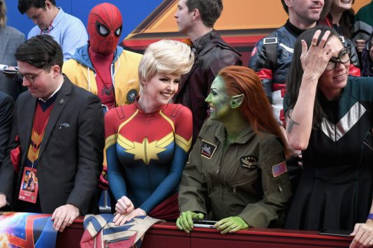 """HOLLYWOOD, CA - MARCH 04: Fans attend the Los Angeles World Premiere of Marvel Studios' """"Captain Marvel"""" at Dolby Theatre on March 4, 2019 in Hollywood, California. (Photo by Charley Gallay/Getty Images for Disney)"""