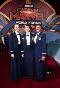 """HOLLYWOOD, CA - MARCH 04: Air Force personnel attend the Los Angeles World Premiere of Marvel Studios' """"Captain Marvel"""" at Dolby Theatre on March 4, 2019 in Hollywood, California. (Photo by Alberto E. Rodriguez/Getty Images for Disney)"""