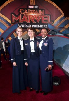 "HOLLYWOOD, CA - MARCH 04: Air Force personnel attend the Los Angeles World Premiere of Marvel Studios' ""Captain Marvel"" at Dolby Theatre on March 4, 2019 in Hollywood, California. (Photo by Alberto E. Rodriguez/Getty Images for Disney)"