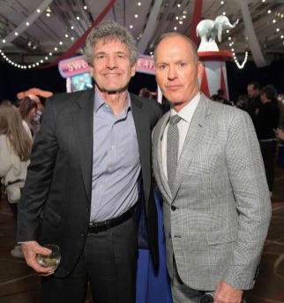 """LOS ANGELES, CA - MARCH 11: Chairman, The Walt Disney Studios, Alan Horn (L) and actor Michael Keaton attend the World Premiere of Disney's """"Dumbo"""" at the El Capitan Theatre on March 11, 2019 in Los Angeles, California. (Photo by Charley Gallay/Getty Images for Disney) *** Local Caption *** Michael Keaton; Alan Horn"""