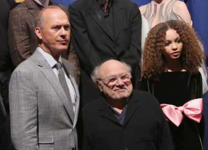 """LOS ANGELES, CA - MARCH 11: (L-R) Actors Michael Keaton, Danny DeVito and Nico Parker attend the World Premiere of Disney's """"Dumbo"""" at the El Capitan Theatre on March 11, 2019 in Los Angeles, California. (Photo by Jesse Grant/Getty Images for Disney) *** Local Caption *** Nico Parker; Michael Keaton; Danny DeVito"""