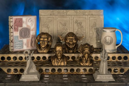 Disney guests will find rare and unique items at Dok-Ondar's Den of Antiquities in Star Wars: GalaxyÕs Edge, including the pictured Jedi artifacts. Star Wars: GalaxyÕs Edge opens May 31, 2019, at Disneyland Resort in California and Aug. 29, 2019, at Walt Disney World Resort in Florida. (David Roark/Disney Parks)