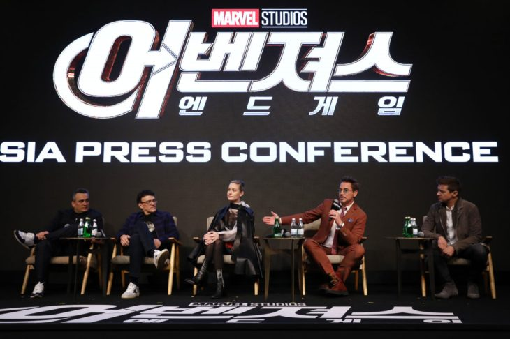 SEOUL, SOUTH KOREA - APRIL 15: Joe Russo, Anthony Russo, Brie Larson, Robert Downey Jr., Jeremy Renner attends the press conference for Marvel Studios' 'Avengers: Endgame' South Korea premiere on April 15, 2019 in Seoul, South Korea. (Photo by Chung Sung-Jun/Getty Images for Disney)