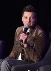 """LOS ANGELES, CA - APRIL 07: Jeremy Renner speaks onstage during Marvel Studios' """"Avengers: Endgame"""" Global Junket Press Conference at the InterContinental Los Angeles Downtown on April 7, 2019 in Los Angeles, California. (Photo by Alberto E. Rodriguez/Getty Images for Disney) *** Local Caption *** Jeremy Renner"""