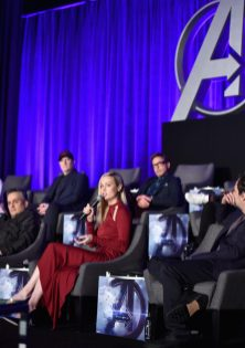 """LOS ANGELES, CA - APRIL 07: (front) Director Joe Russo, Brie Larson and Mark Ruffalo, (back) President of Marvel Studios/Producer Kevin Feige and Robert Downey Jr. speak onstage during Marvel Studios' """"Avengers: Endgame"""" Global Junket Press Conference at the InterContinental Los Angeles Downtown on April 7, 2019 in Los Angeles, California. (Photo by Alberto E. Rodriguez/Getty Images for Disney) *** Local Caption *** Joe Russo; Brie Larson; Mark Ruffalo; Kevin Feige; Robert Downey Jr."""