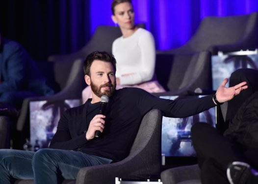 """LOS ANGELES, CA - APRIL 07: Chris Evans (front) and Scarlett Johansson speak onstage during Marvel Studios' """"Avengers: Endgame"""" Global Junket Press Conference at the InterContinental Los Angeles Downtown on April 7, 2019 in Los Angeles, California. (Photo by Alberto E. Rodriguez/Getty Images for Disney) *** Local Caption *** Chris Evans; Scarlett Johansson"""