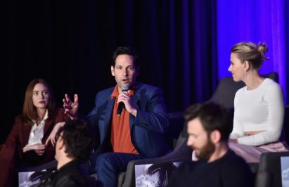 """LOS ANGELES, CA - APRIL 07: (L-R) Karen Gillan, Paul Rudd and Scarlett Johansson speak onstage during Marvel Studios' """"Avengers: Endgame"""" Global Junket Press Conference at the InterContinental Los Angeles Downtown on April 7, 2019 in Los Angeles, California. (Photo by Alberto E. Rodriguez/Getty Images for Disney) *** Local Caption *** Scarlett Johansson; Karen Gillan; Paul Rudd"""