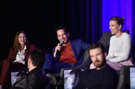 """LOS ANGELES, CA - APRIL 07: (L-R back) Karen Gillan, Paul Rudd, Scarlett Johansson and Chris Evans (front) speak onstage during Marvel Studios' """"Avengers: Endgame"""" Global Junket Press Conference at the InterContinental Los Angeles Downtown on April 7, 2019 in Los Angeles, California. (Photo by Alberto E. Rodriguez/Getty Images for Disney) *** Local Caption *** Chris Evans; Karen Gillan; Paul Rudd; Scarlett Johansson"""