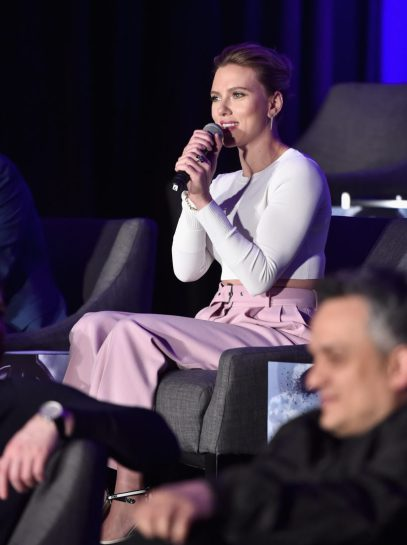 """LOS ANGELES, CA - APRIL 07: Scarlett Johansson speaks onstage during Marvel Studios' """"Avengers: Endgame"""" Global Junket Press Conference at the InterContinental Los Angeles Downtown on April 7, 2019 in Los Angeles, California. (Photo by Alberto E. Rodriguez/Getty Images for Disney) *** Local Caption *** Scarlett Johansson"""