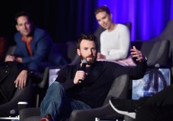 """LOS ANGELES, CA - APRIL 07: Chris Evans (front), Paul Rudd and Scarlett Johansson speak onstage during Marvel Studios' """"Avengers: Endgame"""" Global Junket Press Conference at the InterContinental Los Angeles Downtown on April 7, 2019 in Los Angeles, California. (Photo by Alberto E. Rodriguez/Getty Images for Disney) *** Local Caption *** Scarlett Johansson; Paul Rudd; Chris Evans"""