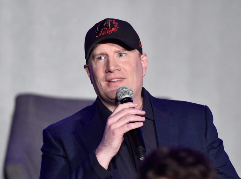 """LOS ANGELES, CA - APRIL 07: President of Marvel Studios/Producer Kevin Feige speaks onstage during Marvel Studios' """"Avengers: Endgame"""" Global Junket Press Conference at the InterContinental Los Angeles Downtown on April 7, 2019 in Los Angeles, California. (Photo by Alberto E. Rodriguez/Getty Images for Disney) *** Local Caption *** Kevin Feige"""