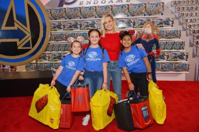 ANAHEIM, CA - APRIL 05: Brie Larson (C) and guests attend Avengers Universe Unites, a charity event to celebrate the donation of more than $5 million in cash and toys to nonprofits supporting children with critical illnesses, at Disney California Adventure Park on April 5, 2019 in Anaheim, California. (Photo by Emma McIntyre/Getty Images for Disney) *** Local Caption *** Brie Larson