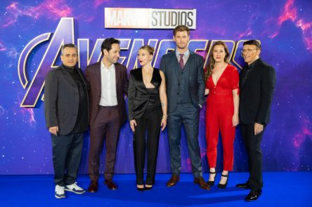 (L-R) Joe Russo, Paul Rudd, Scarlett Johansson, Chris Hemsworth, Trinh Tran and Anthony Russo attend the UK Fan Event to celebrate the release of Marvel Studios' 'Avengers: Endgame' at Picturehouse Central on April 10, 2019 in London, England.