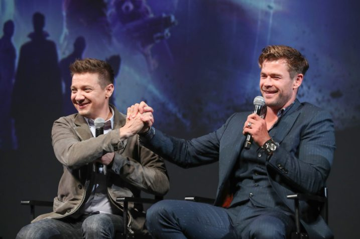 Global Tour Shanghai, China Press Conference L to R: Jeremy Renner and Chris Hemsworth