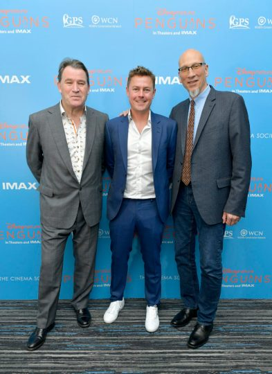 NEW YORK, NEW YORK - APRIL 14: (L-R) Director and Producer Alastair Fothergill, Director and Producer Jeff Wilson and Producer Roy Conli attend Disneynature's 'PENGUINS' Premiere hosted by The Cinema Society at AMC Lincoln Square Theater on April 14, 2019 in New York. (Photo by Roy Rochlin/Getty Images for Disney Studios)
