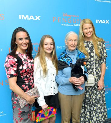 NEW YORK, NEW YORK - APRIL 14: Disneynature Ambassador Dr. Jane Goodall (2nd R) and Beth Stern (R) attend Disneynature's 'PENGUINS' Premiere hosted by The Cinema Society at AMC Lincoln Square Theater on April 14, 2019 in New York. (Photo by Roy Rochlin/Getty Images for Disney Studios)