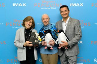 NEW YORK, NEW YORK - APRIL 14: (L-R) Marine Biologist Sylvia Earle, Disneynature Ambassador Dr. Jane Goodall and President of the Global Penguin Society Pablo Borboroglu attend Disneynature's 'PENGUINS' Premiere hosted by The Cinema Society at AMC Lincoln Square Theater on April 14, 2019 in New York. (Photo by Roy Rochlin/Getty Images for Disney Studios)