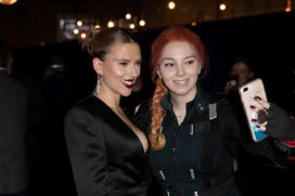 Scarlett Johansson and Fan attend the UK Fan Event to celebrate the release of Marvel Studios' 'Avengers: Endgame' at Picturehouse Central on April 10, 2019 in London, England.