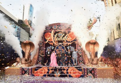 """LOS ANGELES, CA - MAY 21: (L-R) Actors Nasim Pedrad, Marwan Kenzari, Naomi Scott, Mena Massoud, Will Smith, Navid Negahban and Numan Acar attend the World Premiere of Disney's """"Aladdin"""" at the El Capitan Theater in Hollywood CA on May 21, 2019, in the culmination of the film's Magic Carpet World Tour with stops in Paris, London, Berlin, Tokyo, Mexico City and Amman, Jordan. (Photo by Alberto E. Rodriguez/Getty Images for Disney) *** Local Caption *** Nasim Pedrad; Marwan Kenzari; Naomi Scott; Mena Massoud; Will Smith; Navid Negahban; Numan Acar"""